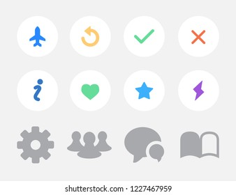 Set of different icons for social media. Vector illustration.