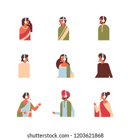 set different indian man woman headphones avatar call center online service support concept hindu female male cartoon character portrait collection isolated flat vector illustration