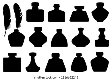 Set of different inkwells isolated on white