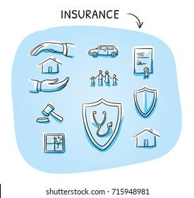Set with different insurance icons, as car, health, legal, liability, family, life, and house. Hand drawn sketch vector illustration, blue marker style coloring on plain background.