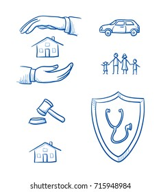 Set with different insurance icons, as car, health, legal, liability, family, life, and house. Hand drawn line art cartoon vector illustration.