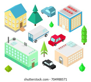 Set of different  isometric buildings. Car, green bushes, tree. Vector illustration isometric style.