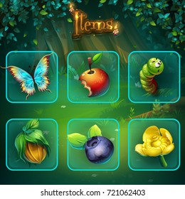 Set different items for game user interface. Vector background illustration screen to computer game Shadowy forest. Background image to create original video, web games, graphic design, screen savers