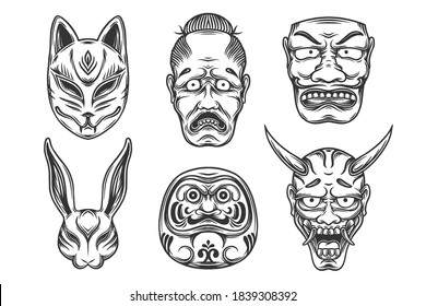 set of different Japanese native masks vector illustration. Design of Oni mask, kitsune, hannya, daruma, usagi in black and white