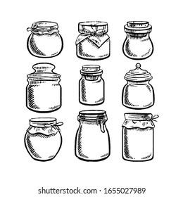 Set of different Jars. Hand drawn illustrations