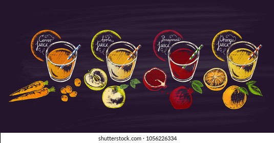 A set of different juices in glasses with ingredients a view from the top painted with chalk: carrots, an apple, a pomegranate, an orange. Theme of a healthy diet.