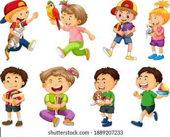 Set of different kid playing with their pets cartoon character isolated on white background illustration