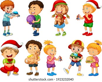 Set of different kid playing with their toys cartoon character isolated on white background illustration
