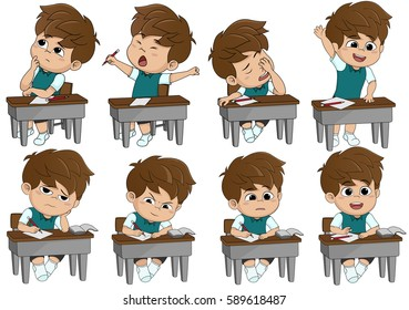 set of different kid pose learning.Vector and illustration.