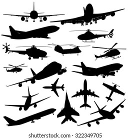 Set of different kind of airplanes isolated on white. Vector illustration