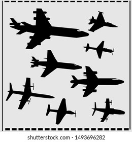 Set of Different Kind of Airplanes Silhouettes