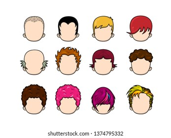 Set of different kind of hairs. Avatar generator - Vector