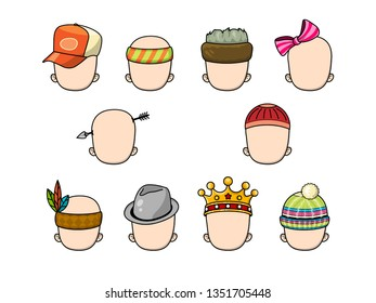 Set of different kind of hats. Avatar generator.