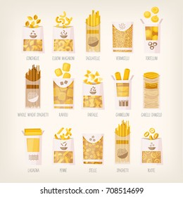 Set of different kinds of packed dry pasta with names. Variety of pasta for different receipts and dishes
