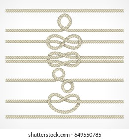 Set of different knots and loops on ropes on white, nautical collection vector illustration