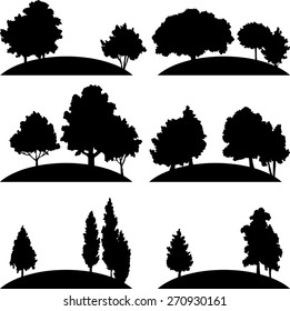 set of different landscapes with deciduous trees, hand drawn vector illustration,forest icons, monochrome emblems