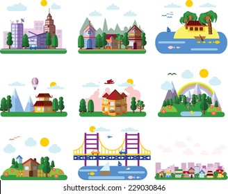 Set of different landscapes in the flat style - urban, rural, country, fabulous, city, mountain and seascape