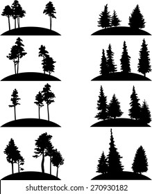 set of different landscapes with pine and fir trees, hand drawn vector illustration, forest icons, monochrome emblems