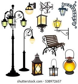Set of different lanterns isolated objects and bench