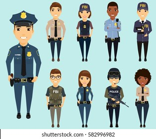 Set of different law enforcement agencies. Young boys and girls. Defenders of citizens in different areas of law enforcement. Sheriff, special forces, Federal Bureau of Investigation, a police officer