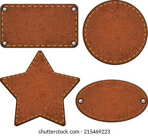 Set of different leather labels. Vector illustration