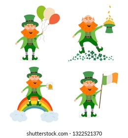 Set of different leprechauns for St. Patrick's Day. Saint Patrick's Day concept. Vector illustration.