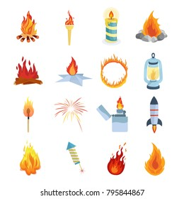 Set of different lights and flames. Campfires for hiking, camping, tourism, Olympic torch, burning candle, circus hoop, lamps and nightlights, fireworks, rockets, types of flames. Vector illustration