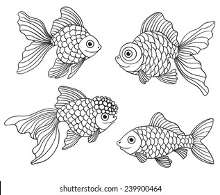 Set Of The Different Linear Goldfishes Vector Illustration Isolated On White
