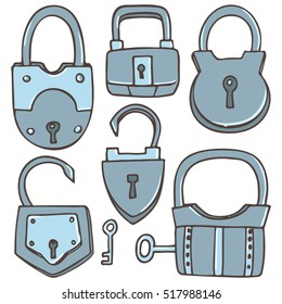 Set of different locks, colored vector images on a white background for design and illustration.
