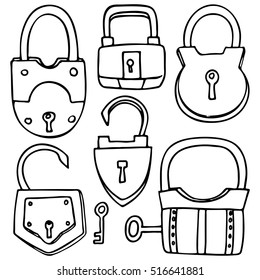 Set of different locks, line drawings on a white background for design and illustration.