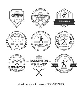 Set of different logotype templates . Vector flat design style illustration of icons for postcard, personal card or print. Badminton symbols including racket, silhouette of a man serving