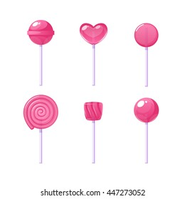 set of different lollipops isolated on white background