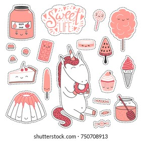 Set of different lovely hand drawn stickers with sweet food doodles, with kawaii cartoon faces, unicorn eating donut, typography. Isolated objects on white background. Design concept dessert, kids.