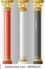 Set of different luxury pillars red, black, white in oriental-style with gold and enamel. Columns of a Buddhist temple or eastern palace, mosque. Vector graphics