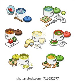 Set of different meals cooking in pots with ingredients and kitchenware, such as fish, asparagus, bell-pepper, dumplings, sausage, soup and carrots (isometric items collection)