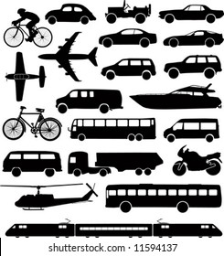 Set of different means of transportation.