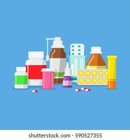 Set of different medical flat bottle style. Icons tablets, drugs, capsules, pills in packages and without. Pharmacology and Pharmacy.