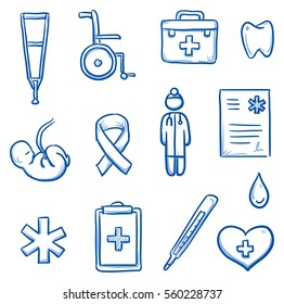Set of different medical icons and objects, such as doctor, fetus, wheelchair, clipboard, heart, blood, thermometer. Hand drawn line art cartoon vector illustration.