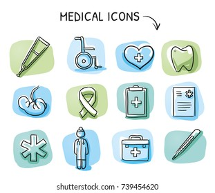 Set of different medical icons and objects: doctor, fetus, wheelchair, clipboard, heart, blood, thermometer, on blue green tiles. Hand drawn cartoon sketch vector illustration, marker style coloring.