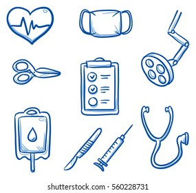 Set of different medical icons, for surgery info graphics. Hand drawn line art cartoon vector illustration.