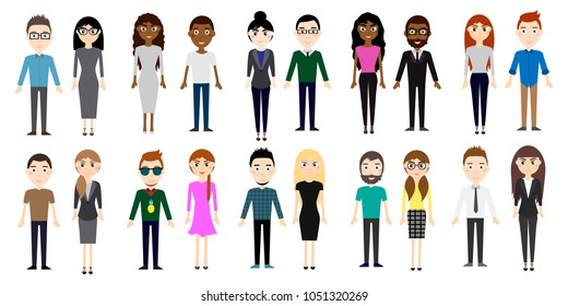 Set of different men and women in business clothes and in casual, street style isolated on white background. Cute and simple flat cartoon style. Vector illustration