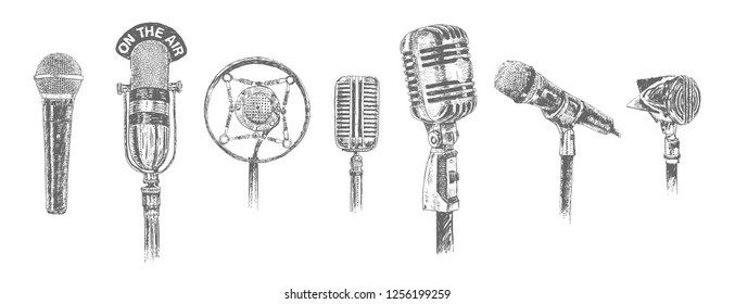 Set of Different  microphones isolated on white background. Old studio and radio mic. Retro Vintage hand drawn engraving style vector illustration