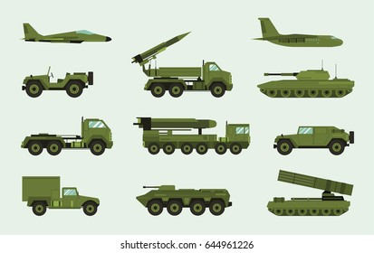 Set of different military transport. Modern equipment collection: fighting machine, air defense, car, truck, tank, armored vehicles, artillery pieces. Vector illustration in flat style