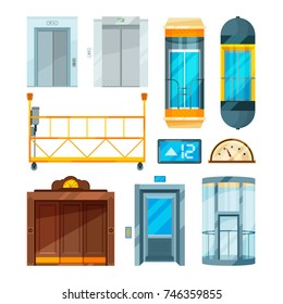 Set of different modern glass elevators. Vector pictures in cartoon style. Collection of lift and elevator door for hotel and modern office illustration