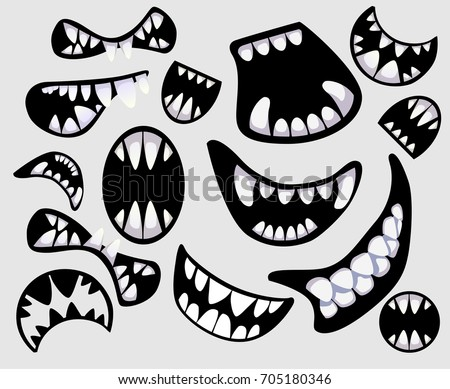 Set Different Monsters Devils Mouth Scary Stock Vector Royalty Free