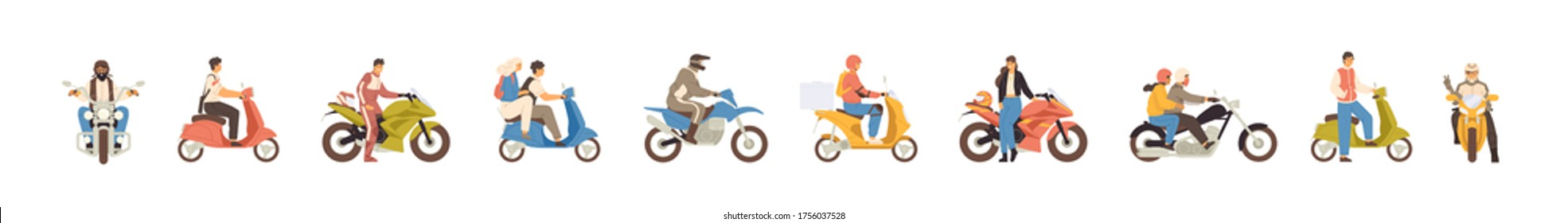 Set of different motorcycle and scooter riders vector flat illustration. Collection of various man, woman and couple drivers in helmets isolated on white background. People on motor transportation