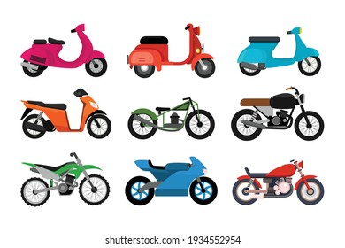 Set of different motorcycles model isolated on white background vector illustration