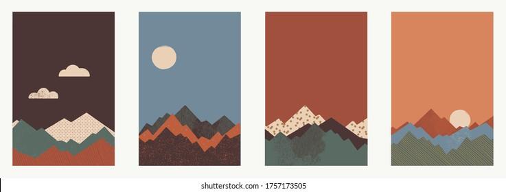 Set of different mountain landscapes. Minimal art illustration