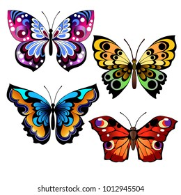 Set of different multicolored butterflies. Collection of fantasy colorful vector butterflies for design. Vector illustration