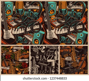 Set of different musical seamless backgrounds. Artworks with different musical instruments.